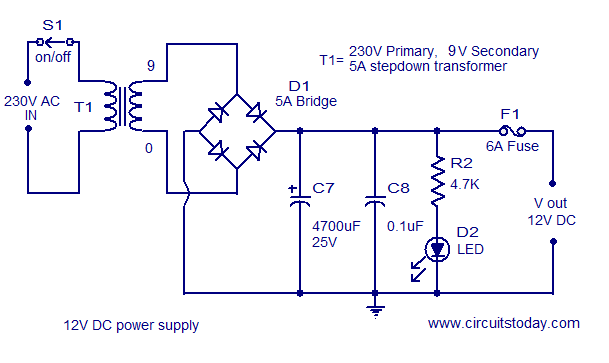 2 x 22 watt stereo amplifier circuit using ic tda 1554 rh circuitstoday com 12v regulator circuit diagram 12v regulator circuit diagram