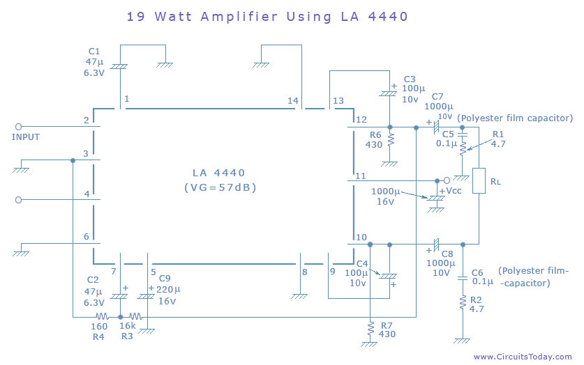 simple amplifier circuit 19 watts using la4440 ic from sanyo19 watt amplifier circuit