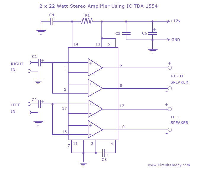 Tremendous 2 X 22 Watt Stereo Amplifier Circuit Using Ic Tda 1554 Wiring Cloud Brecesaoduqqnet