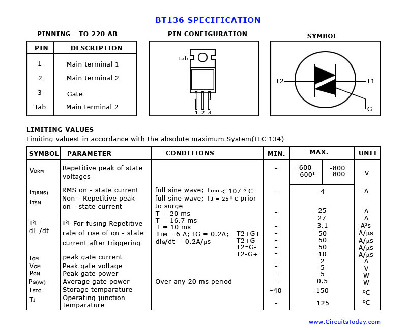 BT 136 Data sheet,Pin out diagram and specifications