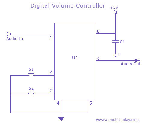 Digital Volume Controller volume control circuit schematic using ds 1669 potentiometer ic audio control wiring diagram at reclaimingppi.co