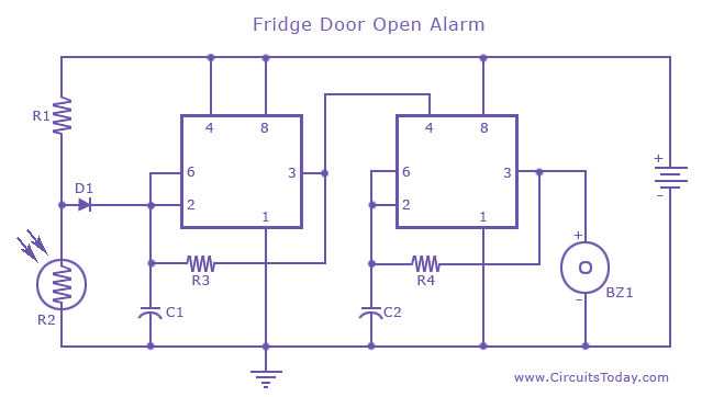 fridge door alarm rh circuitstoday com door alarm circuit diagram using ic 555 door alarm system circuit diagram