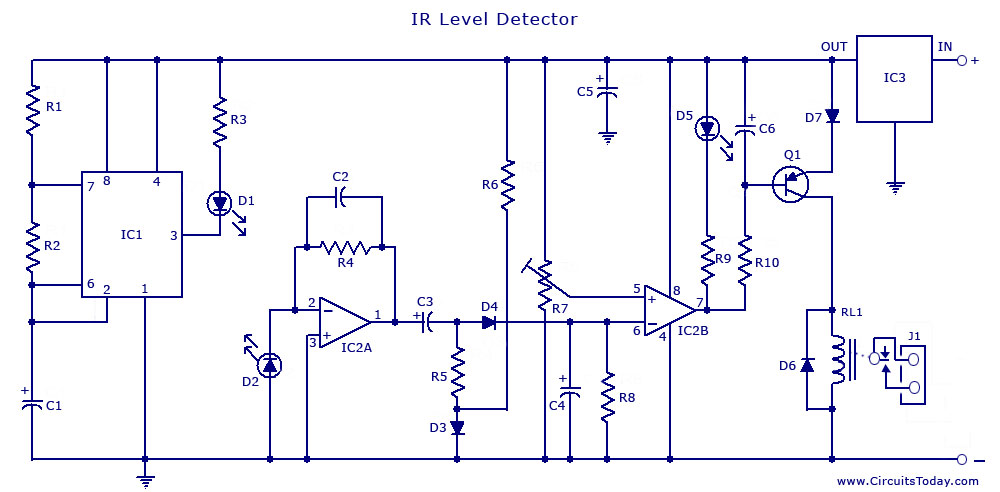 infrared (ir) sensor circuit detector circuit diagram using 555 ic