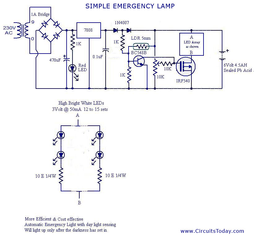 automatic led emergency light circuit rh circuitstoday com simple emergency light circuit diagram simple emergency light circuit diagram