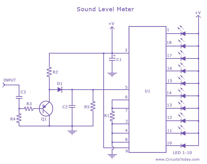 Sound Level Meter Circuit/Acoustic Level Meter