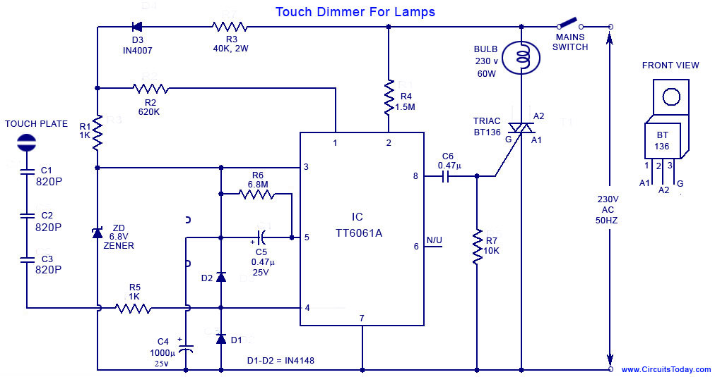 Touch Dimmer Circuit for Lamps using TT6061 IC