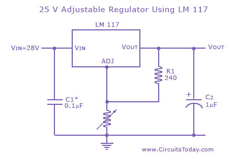 adjustable/variable voltage regulator circuit using lm117 ic, Wiring circuit