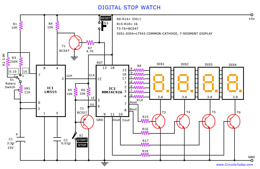 Digital Stop Watch on open close stop schematic