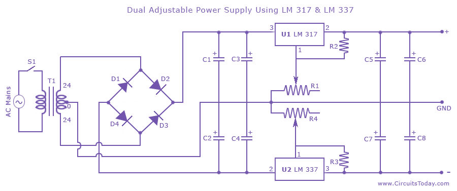 Dual Adjustable Variable Power Supply Circuit Using Lm317 Lm337
