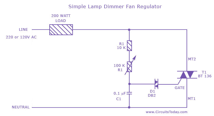 simple lamp dimmer fan regulator circuit fan regulator circuit diagram