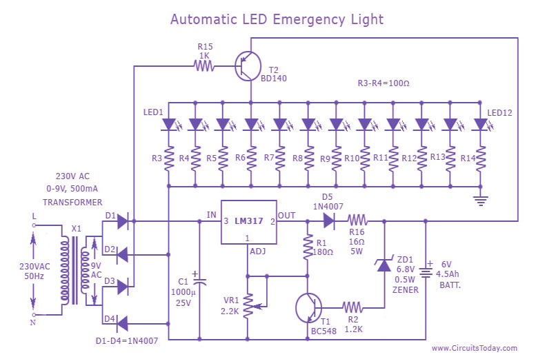 automatic led emergency light circuit, wiring diagram