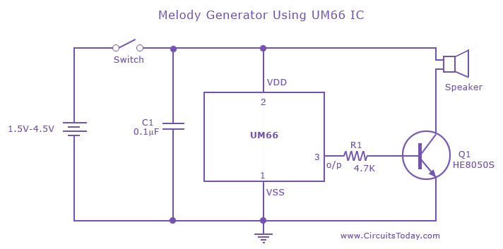 Melody Generator Circuit using UM 66 IC