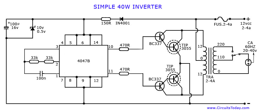 how to make an inverter simple 40 watts inverter circuit rh circuitstoday com simple inverter circuit diagram cd 4740 simple inverter circuit diagram download
