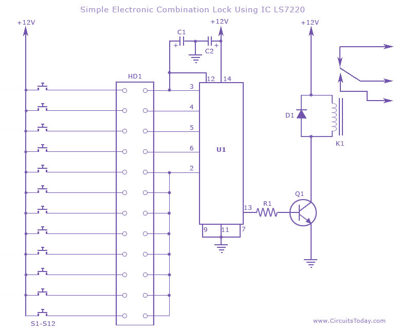 Electronic  bination Lock Using Ic Ls 7220 on 2n2222 transistor