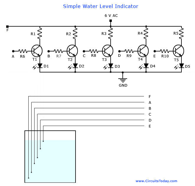 Water Level Indicator Circuit Diagram-Liquid Level Sensor Project on