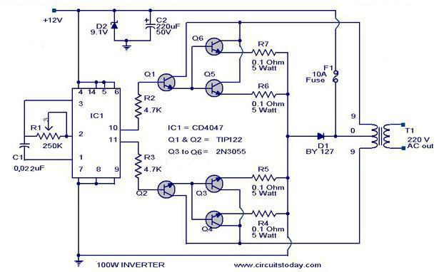 100 watt inverter-circuit diagram, parts list & design tips, Wiring circuit