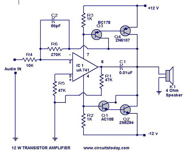 12 w transistor amplifier_circuit_ckt transistor amplifier circuit with diagram for 12 watts amplifier schematic diagram at panicattacktreatment.co