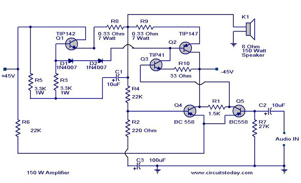 150 watt amplifier circuit  circuitstoday