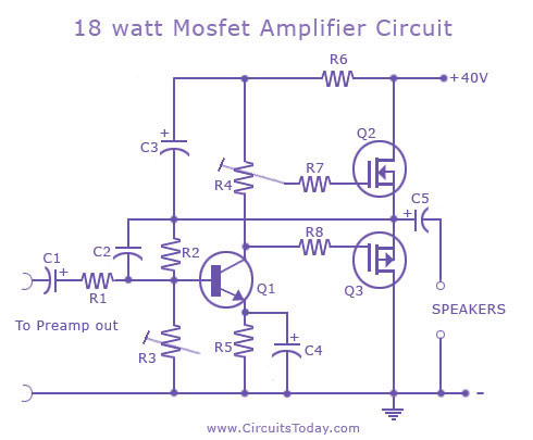 18 watt mosfet amplifier circuit