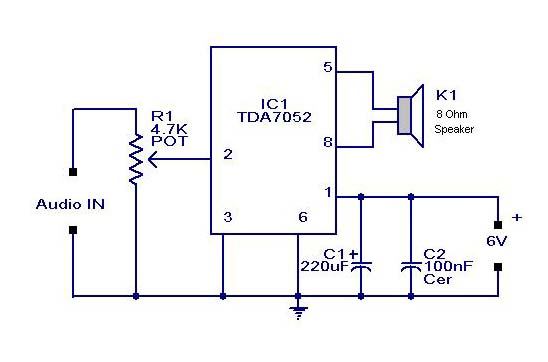small or mini audio amplifier circuit using tda 7052 ic deliver 2 mini amplifier circuit