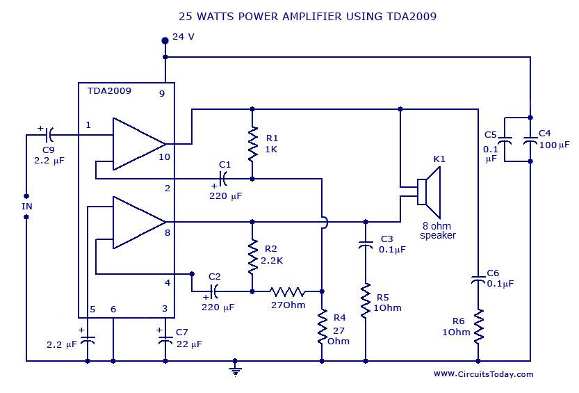 25 watts power amplifier using tda 2009 power amplifier circuit diagram and schematics for 25 watts ic tda2009 ic schematic diagram at couponss.co