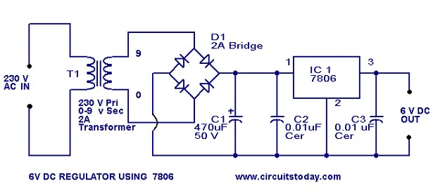 6 volt regulator circuit using 7806-voltage regulator ic, Wiring circuit