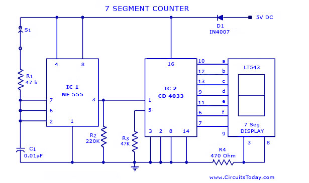 seven 7 segment counter circuit with led display diagram and schematic rh circuitstoday com seven segment clock circuit diagram