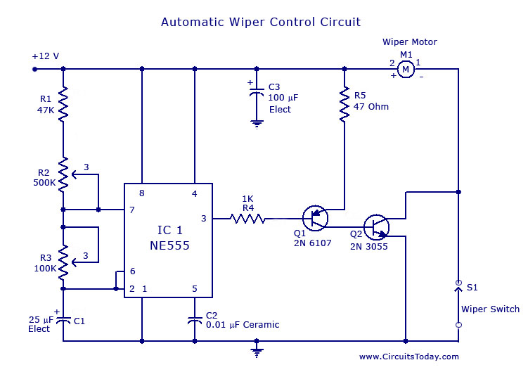 automatic wiper control circuit using ne 555 ic rh circuitstoday com