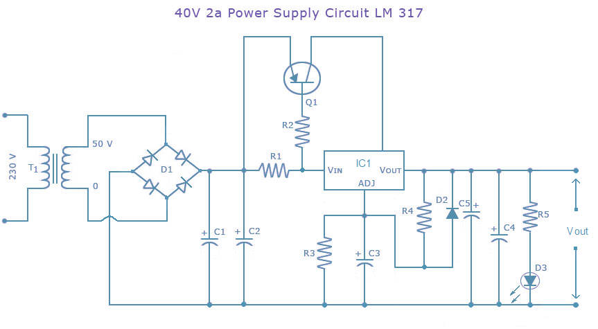 Power Supply CircuitDC40 Volts 2 Ampere using LM317