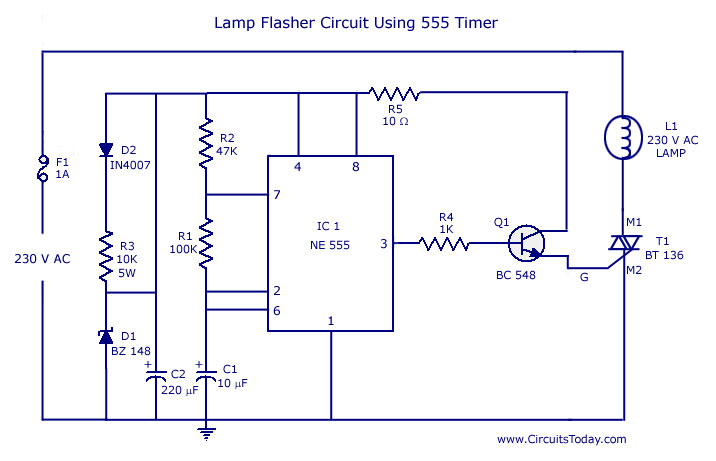 Lamp Flasher Circuit Using 555 Timer