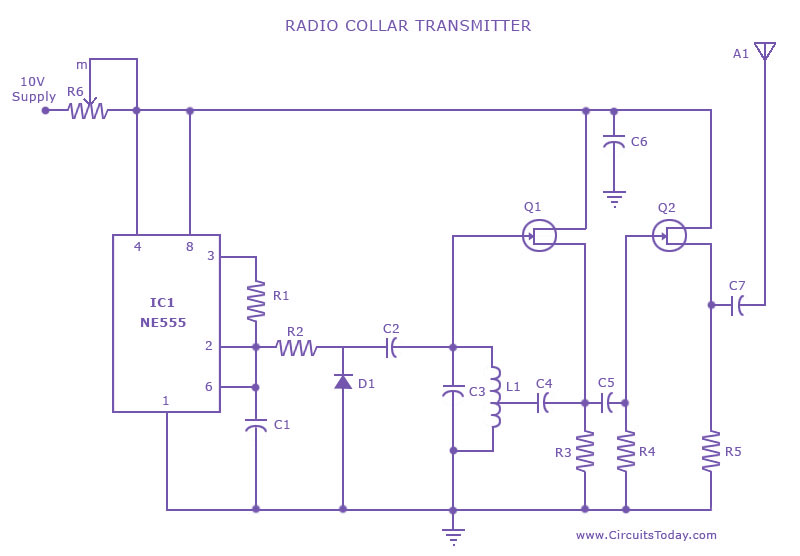radio collar transmitter circuit