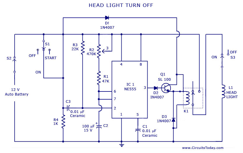 [ZSVE_7041]  Automatic Car/Vehicle Head Lights Turn Off Circuit | Led Car Lights Wiring Diagram |  | CircuitsToday