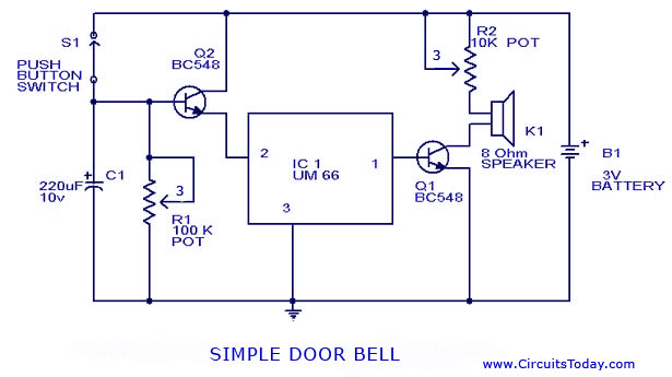 doorbell wiring diagram dc doorbell circuit diagram and schematic using um 66 ic door bell circuit
