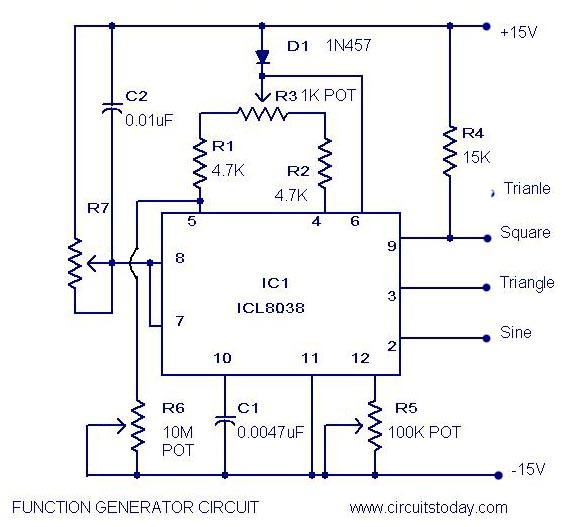 function generator circuit using icl8038 pulse generator ic,
