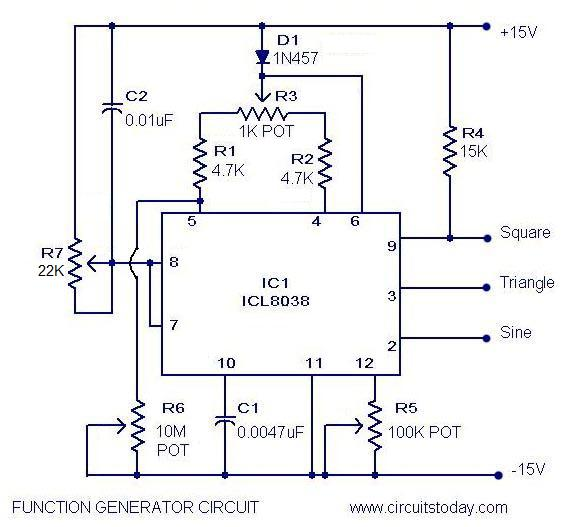 Function generator circuit using icl8038 pulse generator ic pulse generator or waveform generator circuit function generator circuit diagram cheapraybanclubmaster Images
