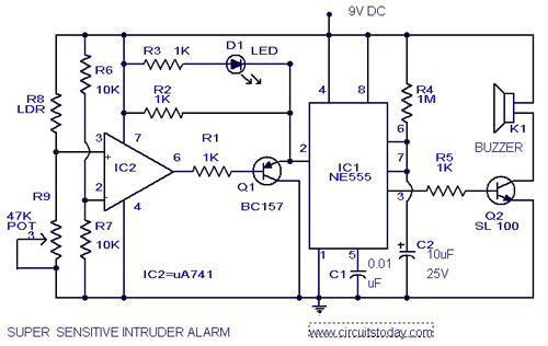 sensitive intruder alarm circuit diagram using 555 ic and 741 ic rh circuitstoday com security system circuit diagram pdf laser security alarm circuit diagram