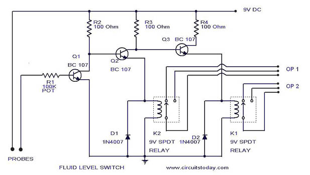 Liquid/Fluid/Water/Float/Tank Level Switch Circuit Diagram using Relay | Two Float Switch System Schematic |  | CircuitsToday