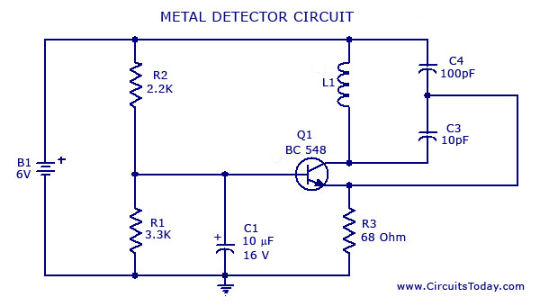 metal detector circuit with diagram and schematic, block diagram