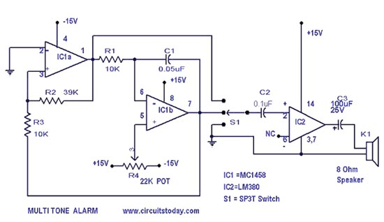 simple alarm circuit with diagram multi tone sound rh circuitstoday com Simple Alarm Systems Simple Circuit Project Ideas
