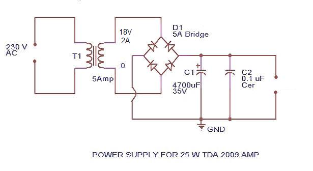 TDA 2009 power amplifier supply