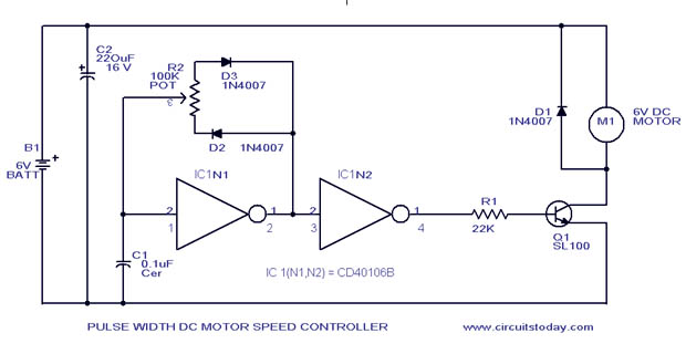 Pwm motor speed control circuit with diagram for dc motor for Motor speed control pwm
