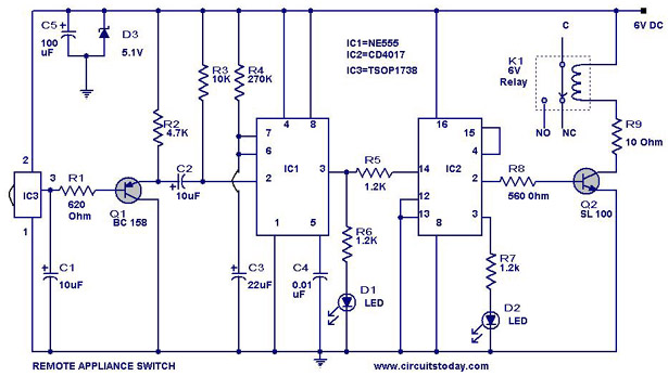 remote controlled appliance switch circuit