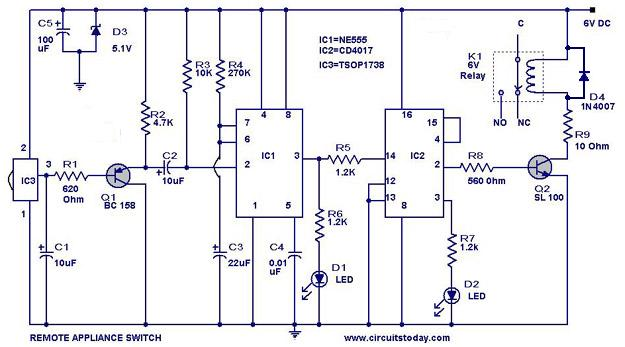 remote controlled switch circuit for appliances rh circuitstoday com remote control car circuit diagram pdf remote