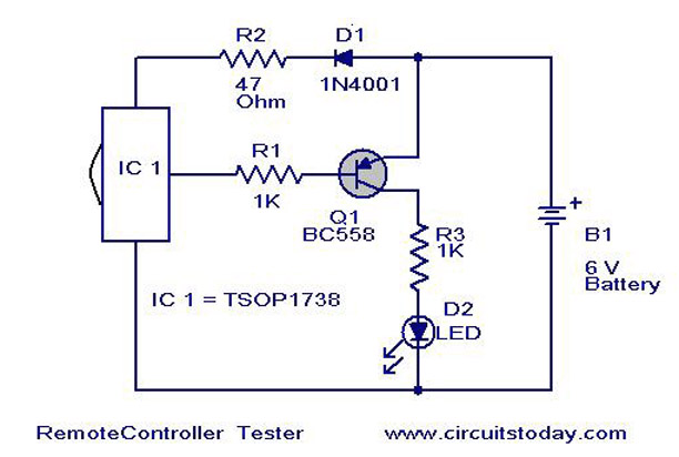Infra Red Remote Control Tester Circuit