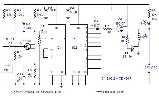 musical light chaser circuit with diagram using ic cd4016light chaser circuit diagram with parts list sound output light chaser