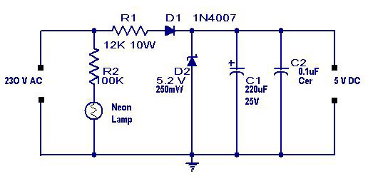 Transformerless Power Supply Circuit-Ouputs 5 Volt DC