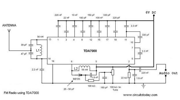 single chip fm radio circuit diagram using tda 7000 ic fm radio circuit