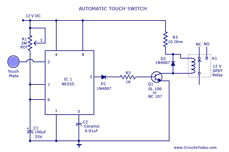touch switch circuit diagram using ne 555 ic rh circuitstoday com