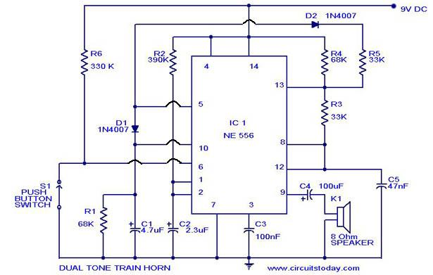 dual tone model train horn sound generator circuit using 556 ic rh circuitstoday com Model Railroad Throttle Circuits Model Railroad Throttle Circuits
