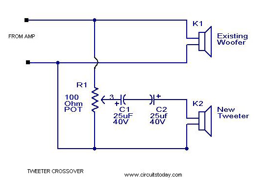 tweeter crossover circuit with diagram to filter low frequency rh circuitstoday com audio crossover circuit diagram crossover circuit diagram pdf